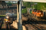 Southbound CP Yard Job Train Overtaking a Southbound BNSF Yard Job Train